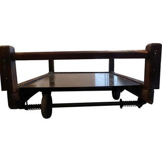 Large Industrial Cart Coffee Table For Sale