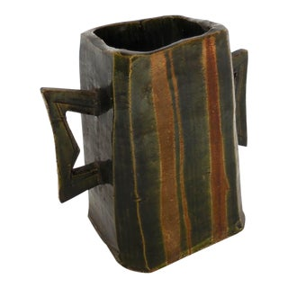 Japanese Pottery Vessel With Two Large Handles in Matte Earth Colors For Sale
