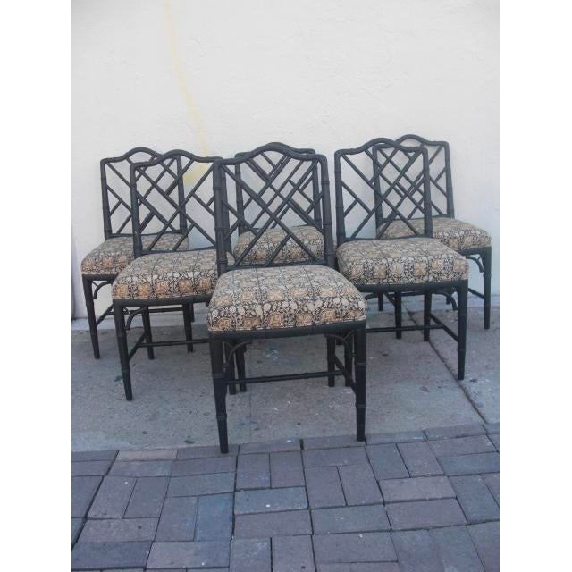 Chippendale Vintage Mid Century Faux Bamboo Chippendale Dining Chairs- Set of 6 For Sale - Image 3 of 11