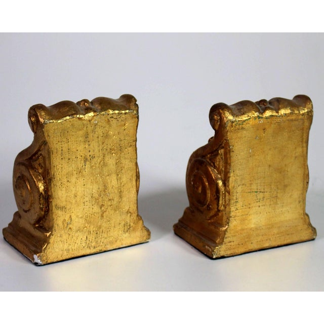 Gold Leaf 1940's Hollywood Regency Neoclassical Romanesque Scroll Gilt Bookends - a Pair For Sale - Image 7 of 8