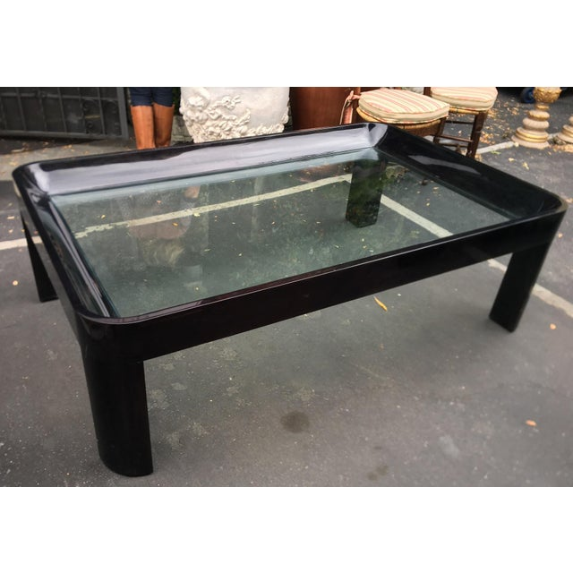 Vintage 1980's Black Lacquer Rounded Corner Coffee Table For Sale In Los Angeles - Image 6 of 6