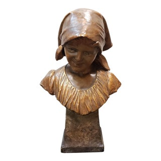 "1898 ""Annita"" Goldscheider Gilded Terracotta Bust Sculpture by Ippazio Antonio Bortone For Sale"