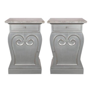 Pair of Deco End Tables in Silverleaf with Carrara Marble Tops by Grosfeld House For Sale