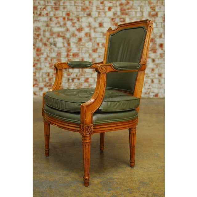 Louis XVI Style Leather Fauteuil Armchairs - A Pair - Image 4 of 10