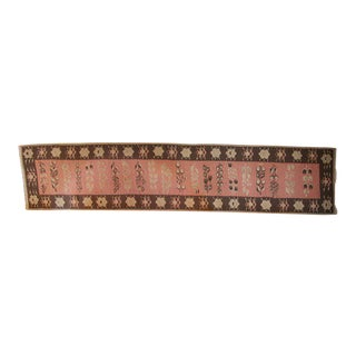 19th Century Pink and Brown Kilim Runner from Bulgaria