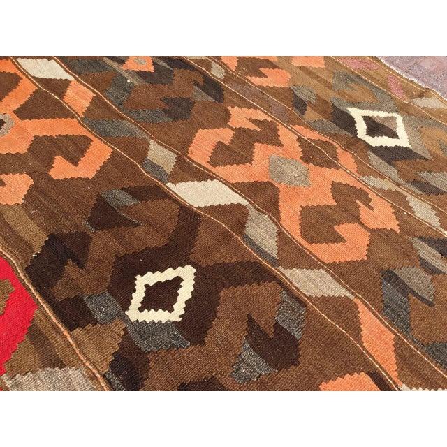 Vintage Brown Turkish Kilim Rug For Sale In Raleigh - Image 6 of 10