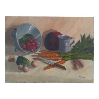 1970s Oil Painting of Kitchen Still Life