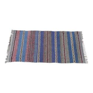 "Swedish Vintage Handwoven Rag Rug -- 3.1"" x 6.6"""