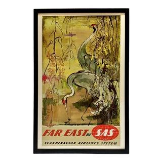 Framed Mid-Century Sas Far East Travel Poster For Sale