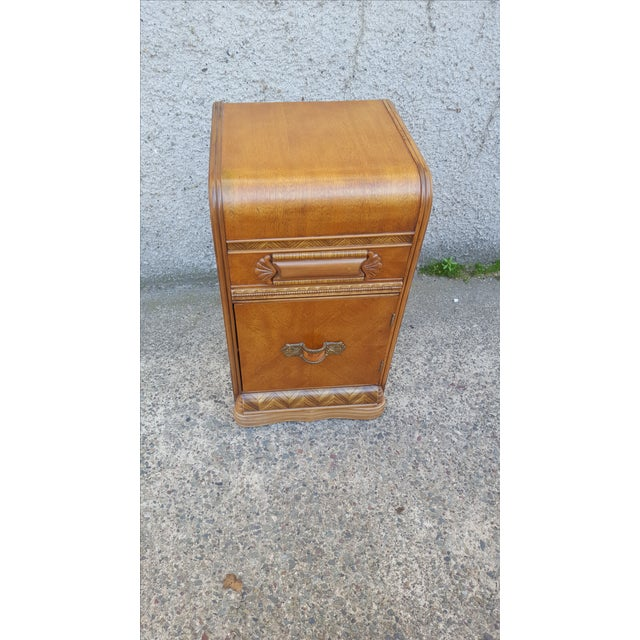 Vintage Restored Art Deco Waterfall Nightstand - Image 4 of 7