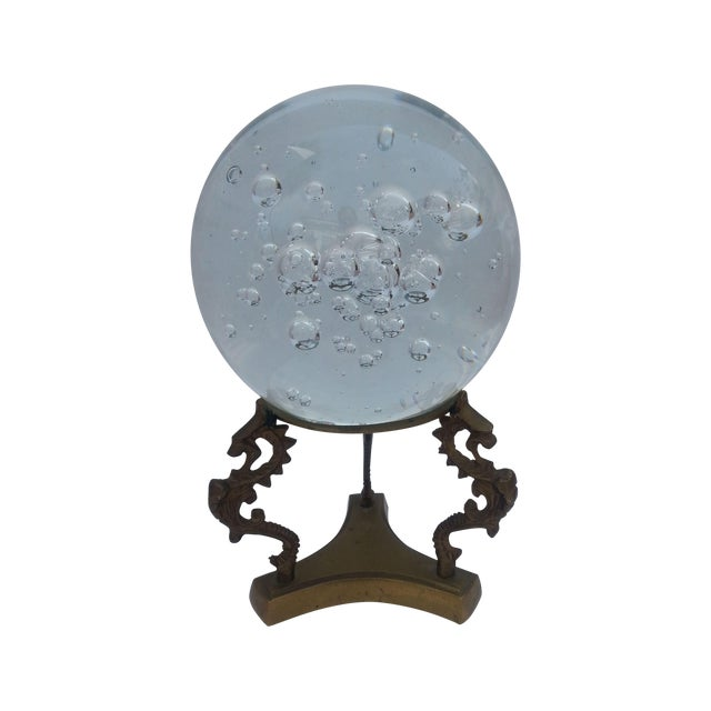 Glass Sphere on Brass Stand - Image 1 of 3