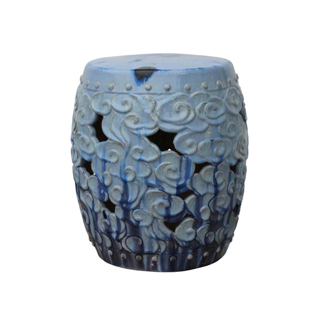 Ceramic Clay Light Blue Glaze Round Scroll Pattern Garden Stool For Sale - Image 9 of 9