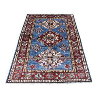 Hand-Knotted Kazak Wool Caucasian Design Rug- 3′4″ × 5′ For Sale