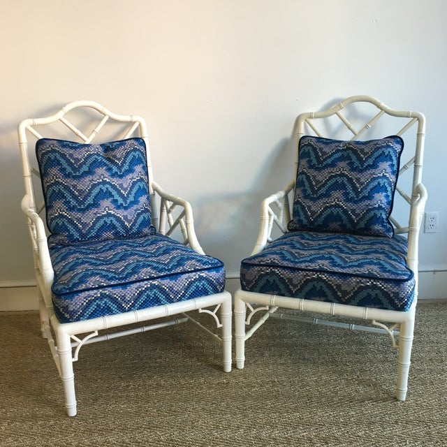 Vintage White Faux Bamboo Club Chairs - A Pair - Image 7 of 7