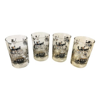 Vintage Libbey Small Rocks Glasses With Horse & Buggy Carriage Designs- Set of 4 For Sale