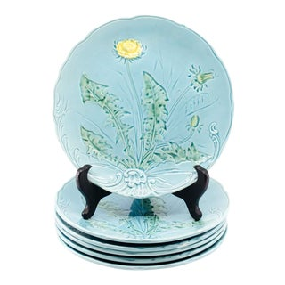 Early 20th C. Majolica Dandelion #722 Plates by G. S. Zell Germany - Set of 6 For Sale
