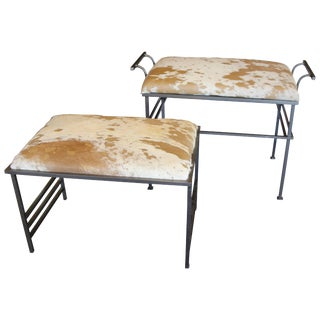 Debrided Hide Seat Steel Benches - a Pair For Sale