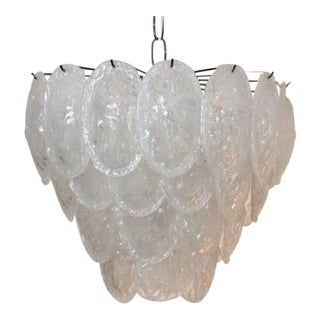 Murano Frosted Glass Leaves Chandelier by A.V. Mazzega