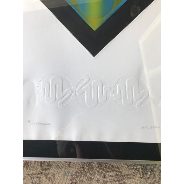 1960s Mid-Century Modern Carlos Davila Geometric Embossed Serigraph Print, Framed For Sale - Image 5 of 8