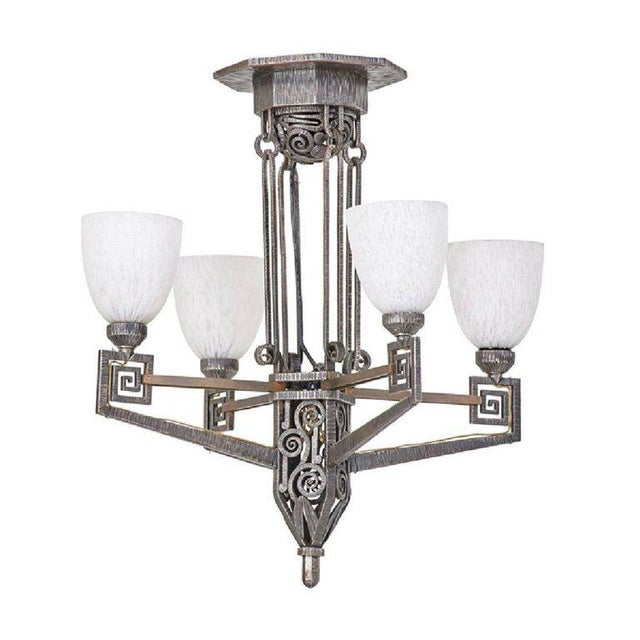 Edgar Brandt Style French Art Deco Chandelier For Sale - Image 12 of 12