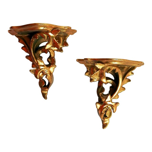 Italian Carved Gilt Wood Wall Shelf Brackets - a Pair For Sale