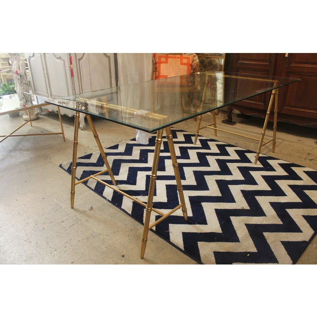 Glass & Gold Iron Faux Bamboo Dining Table - Image 2 of 5