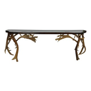 Rustic Antler Console Table For Sale