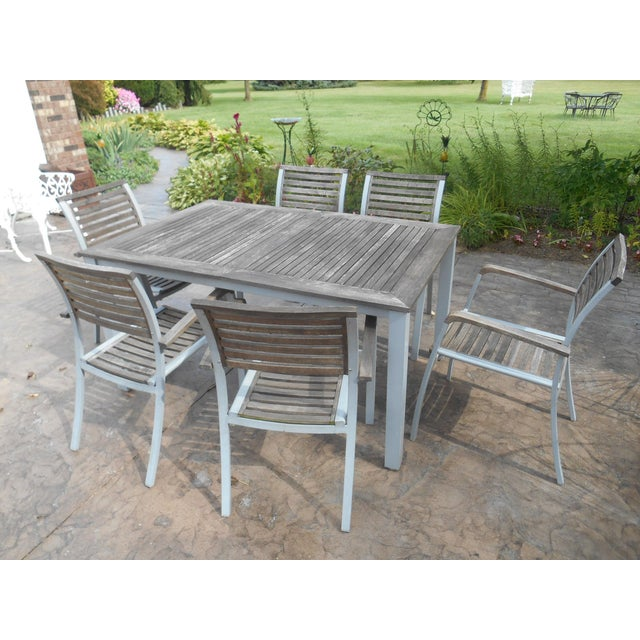 Vintage Weathered Travira Aluminum and Teak Outdoor Dining-Set of 7