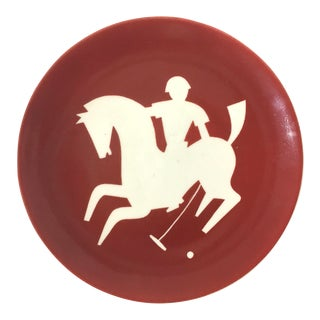 Vintage Red and White Stylized Art Deco Polo Player Plate by Waylande Gregory For Sale