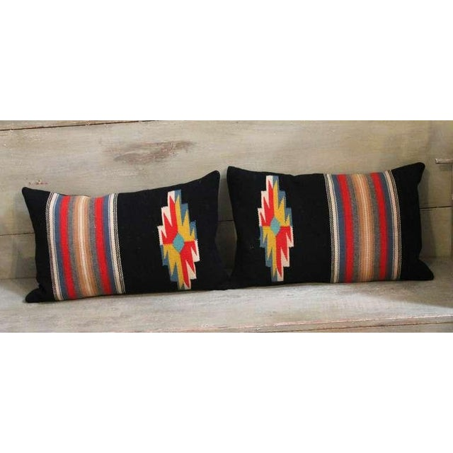 These pillows were made from a Vallero Rio Grande New Mexican weaving utilizing Germantown yarns. Very vivid in coloration...