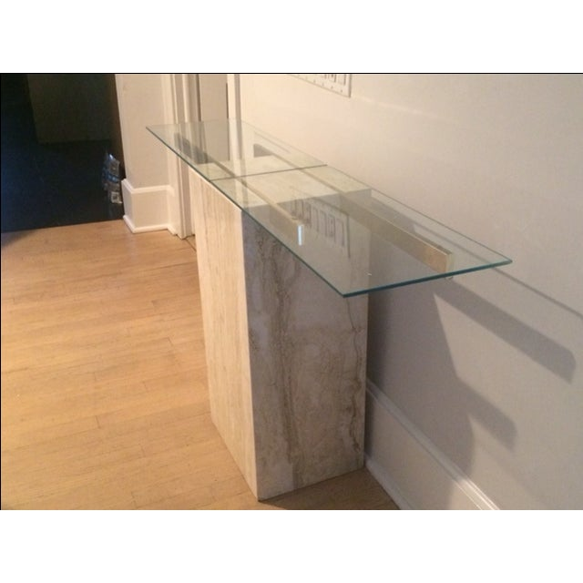 Mid-Century Modern Travertine Console Table & Glass Top - Image 7 of 11