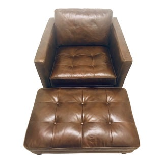 Magnolia Dapper Leather Chairs and Ottoman. For Sale