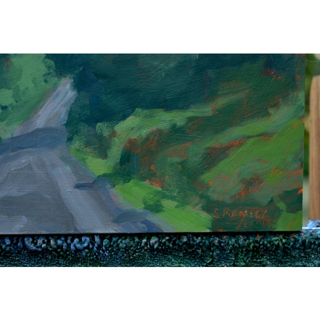 "Paint Stephen Remick ""Vermont Gravel Road With Blue Mountain"" Contemporary 2010s Landscape Painting For Sale - Image 7 of 10"