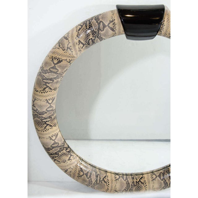 1970s Mid-Century Modern Round Mirror Wrapped in Embossed Leather For Sale - Image 5 of 10