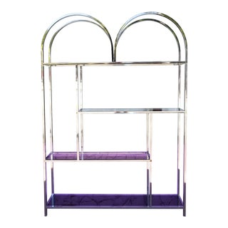 Milo Baughman Style Chrome and Glass Shelf / Etagere For Sale
