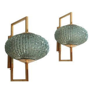 Mid Century Modern Pair of Blue/Green Murano Glass & Brass Sconces For Sale