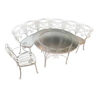 1960s Mid-Century Modern Wrought Iron Patio Set - 3 Pieces For Sale