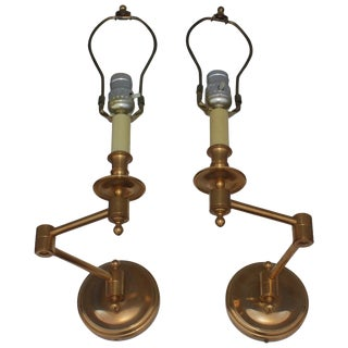 1960s French Brass Swing Arm Sconces For Sale