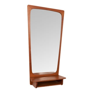 1960s Danish Modern Vintage Teak Wall Mirror & Shelf