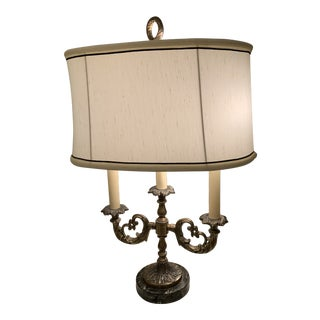 Antique French Bouillotte Lamp With Shade For Sale