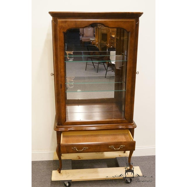 Late 20th Century Hammary Solid Cherry Louis XVI Country French Lighted Curio Display Cabinet For Sale - Image 5 of 13