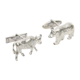 Sterling Silver Bull & Bear Cufflinks - a Pair For Sale