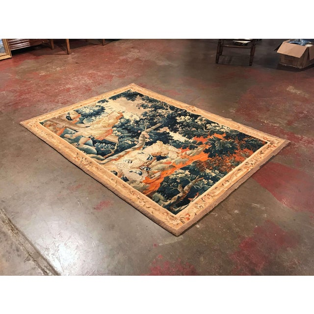 Blue 18th Century French Aubusson Tapestry With Cherubs at Play For Sale - Image 8 of 12