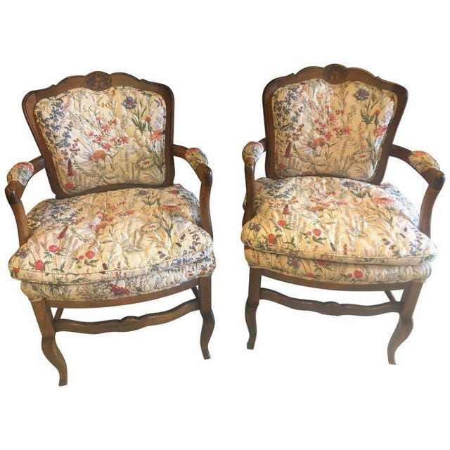 Country French Boudoir Fauteuil Louis XV Chairs in Quilted Like Upholstery, Pair For Sale - Image 10 of 10