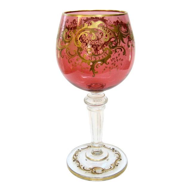 Antique Gold Encrusted Crystal Chalice Vase For Sale
