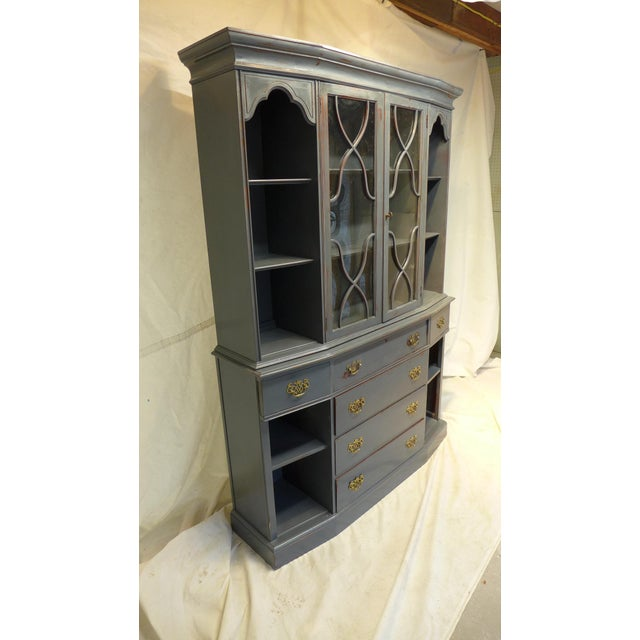 Vintage Mahogany Gray Cupboard For Sale - Image 7 of 11