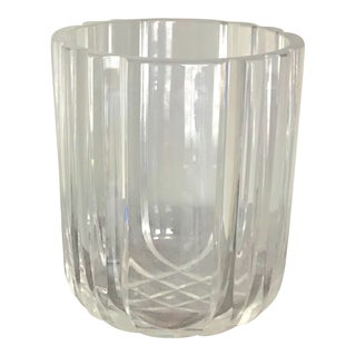 Art Deco Hand Cut Crystal Large Champagne Bucket For Sale