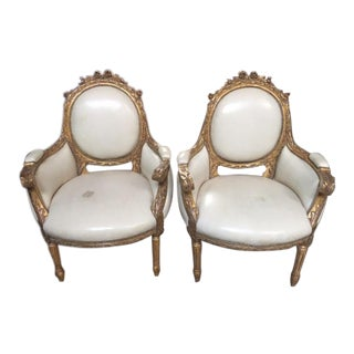 Late 19th Century Antique French Gilt-Wood Armchairs - A Pair For Sale