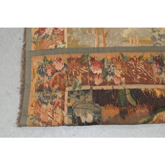 Fine Antique European Tapestry Depicting a Country Scene With Dogs For Sale - Image 12 of 13