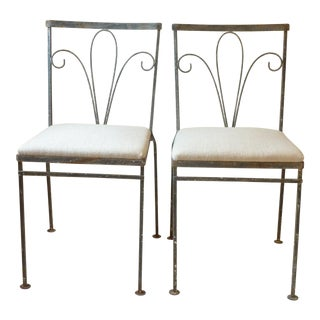 Mid-Century Modern Steel with Linen Upholstered Seats Garden Chairs - a Pair For Sale
